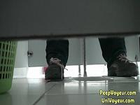 under stall peeing view
