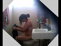 Latino Sister spied as she pees