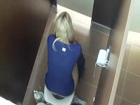 Blonde poops in toilet stall