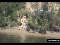 couple spied on the beach